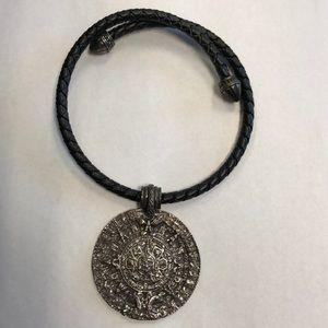 Chico's Aztec medallion leather choker